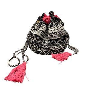 Boho aztec drawstring crossbody cosmetic pouch